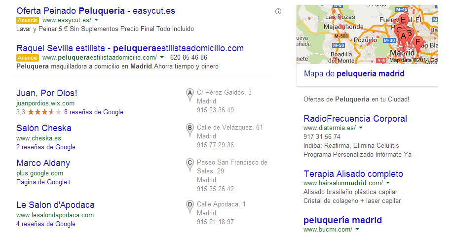 Google adwords peluqueria