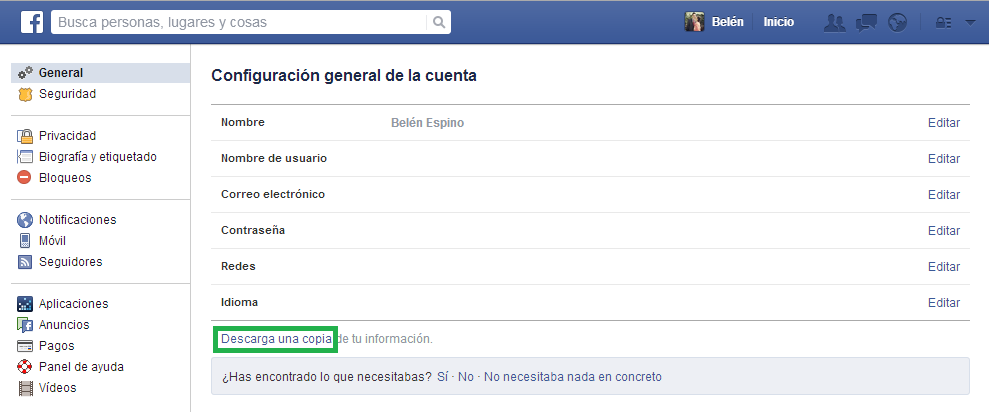 Copia Seguridad Facebook
