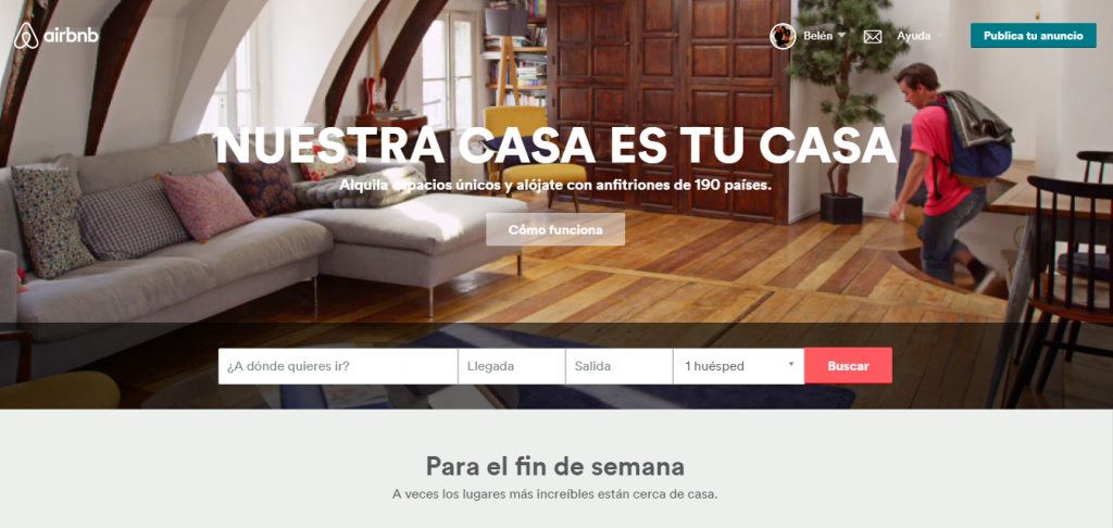 Web Airbnb vídeo