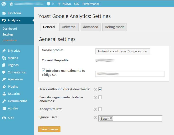 Instalar el Código de seguimiento de Analytics en WordPress