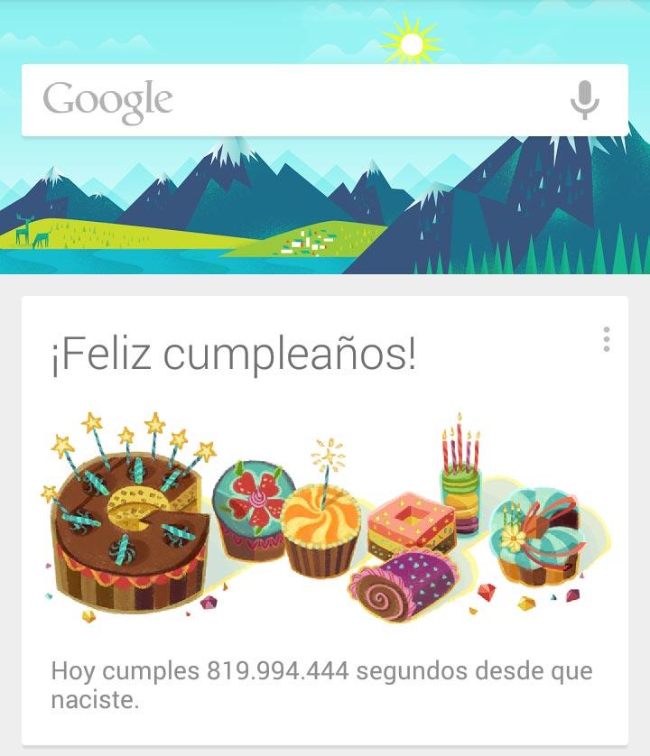 Google cumpleaños