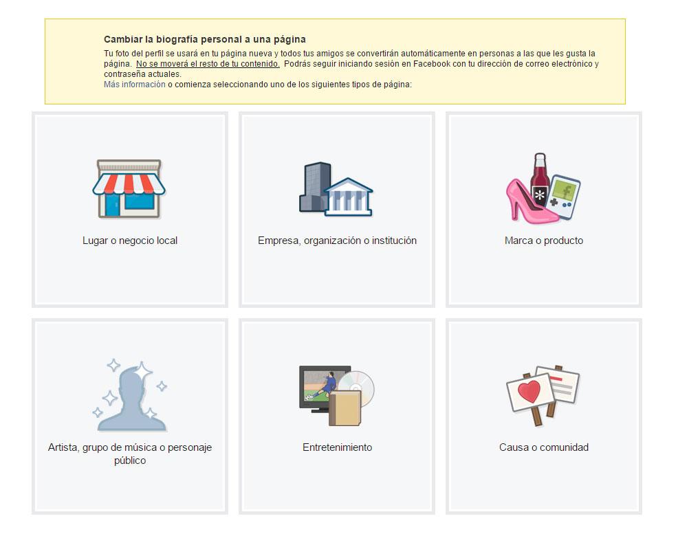 Convertir una cuenta personal de Facebook en una página y fusionarla