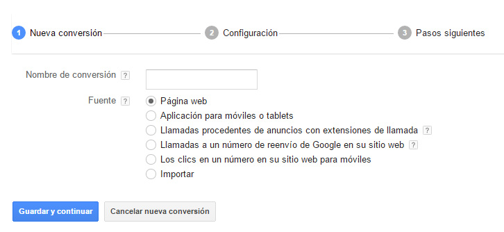 Conversiones de AdWords
